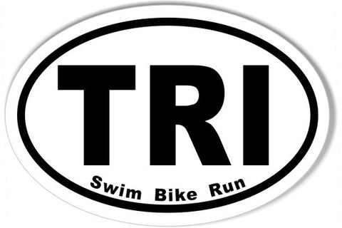 TRI Swim Bike Run Triathalon Oval Sticker