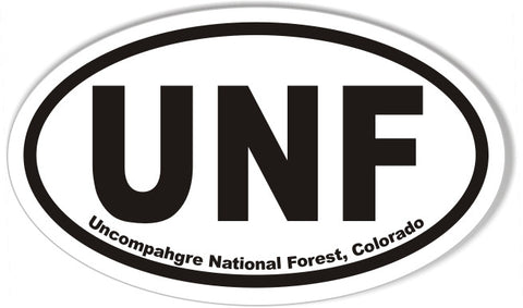 UNF Uncompahgre National Forest, Colorado Oval Bumper Stickers