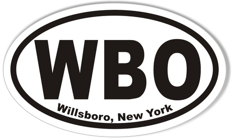 WBO Willsboro, New York Oval Bumper Stickers