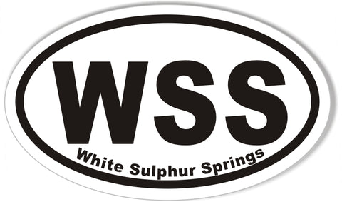 WSS White Sulphur Springs Oval Bumper Sticker