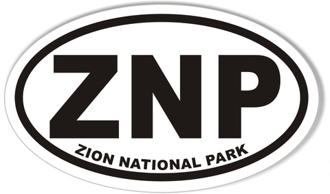 ZNP ZION NATIONAL PARK Oval Stickers
