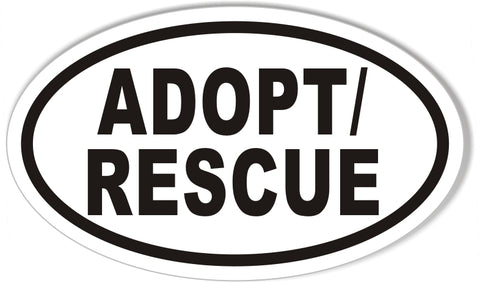 Adopt rescue custom euro oval stickers