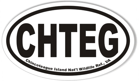 CHTEG Chincoteague Island Nat'l Wildlife Ref., VA Oval Bumper Sticker