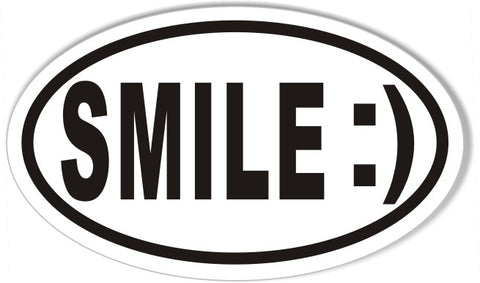SMILE :) 3x5 Inch Custom Oval Bumper Stickers