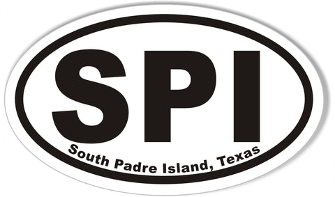 SPI South Padre Island, Texas Oval Stickers