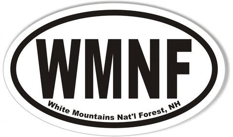WMNF White Mountains Nat'l Forest, NH Oval Bumper Stickers
