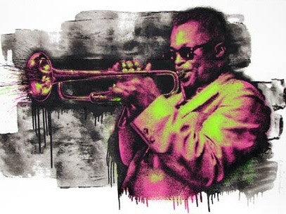 Miles Davis - Mr Brainwash poster print MBW Pink and Green street art