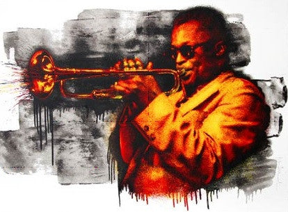 Miles Davis - Mr Brainwash poster print MBW Red and Yellow street art