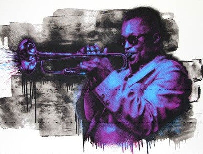 Miles Davis - Mr Brainwash poster print MBW Purple and Blue street art