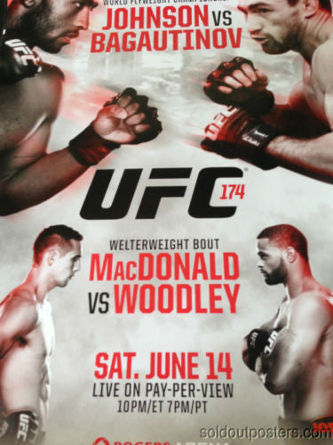 UFC 174 poster print Johnson vs. Bagautinov and Macdonald vs. Woodley MMA