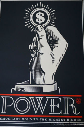 Power Bidder - 2015 Shepard Fairey poster print AP hand signed democracy money