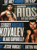 Brandon Bam Bam Rios vs. Diego Chaves HBO Boxing fight poster print Kovalev