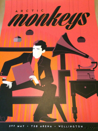 Arctic Monkeys - 2014 Tom Whalen poster print Wellington, NZ Arena #'d