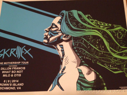 Skrillex - 2014 Tim Doyle poster print Dillon Francis what so not milo & Otis