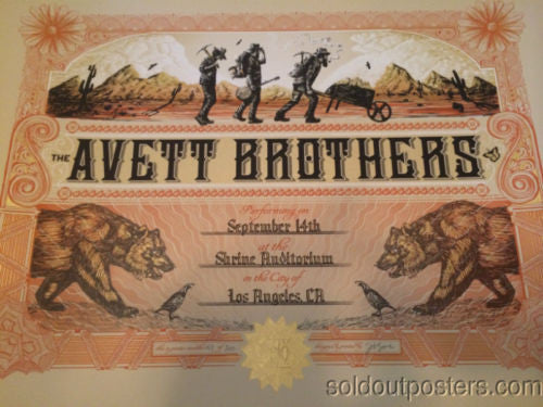 The Avett Brothers - 2014 Zeb Love poster print Shrine Auditorium Los Angeles
