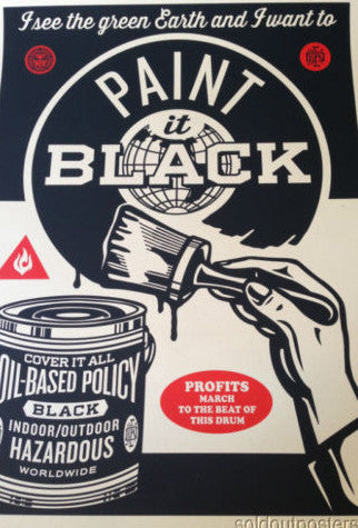 Paint it Black (brush) - 2014 Shepard Fairey poster print earth green NRDC Obey