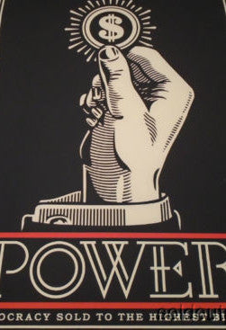 Power Bidder - Shepard Fairey Obey poster print Finance Reform United Republic