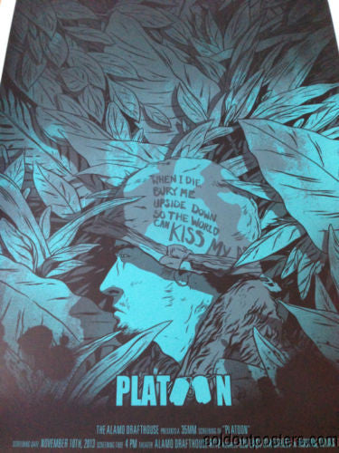 Platoon - 2013 Johnny Dombrowski poster print numbered ed of 125 mondo 1st ed