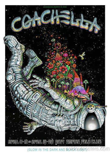 Coachella - 2014 EMEK Indio poster print AP edition of 100 signed numbered doodl