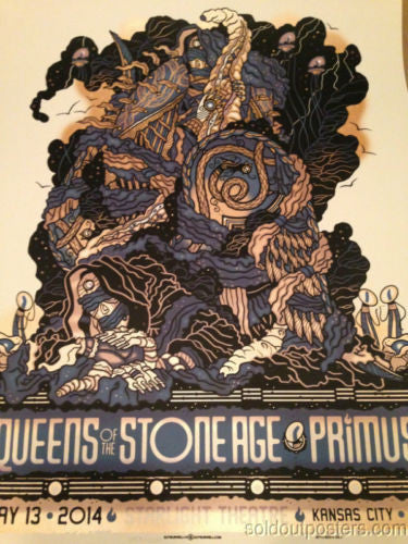 Queens of The Stone Age - 2014 Guy Burwell poster print Primus Kansas City MO