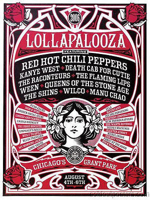 Lollapalooza - 2006 Shepard Fairey poster Print Chicago Obey 1st ed Kanye RHCP W