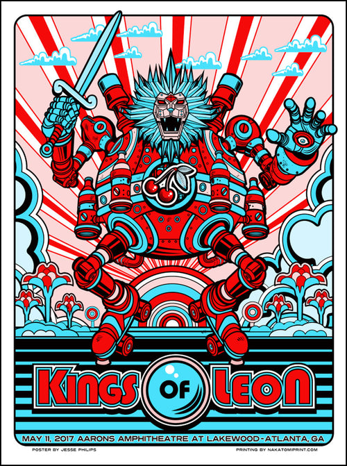 Kings of Leon - 2017 Jesse Phillips poster Atlanta, GA Aarons Amphitheatre