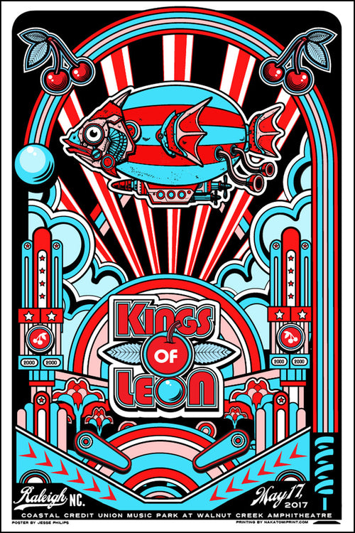 Kings of Leon - 2017 Jesse Phillips poster Raleigh, Walnut Creek Amphitheatre