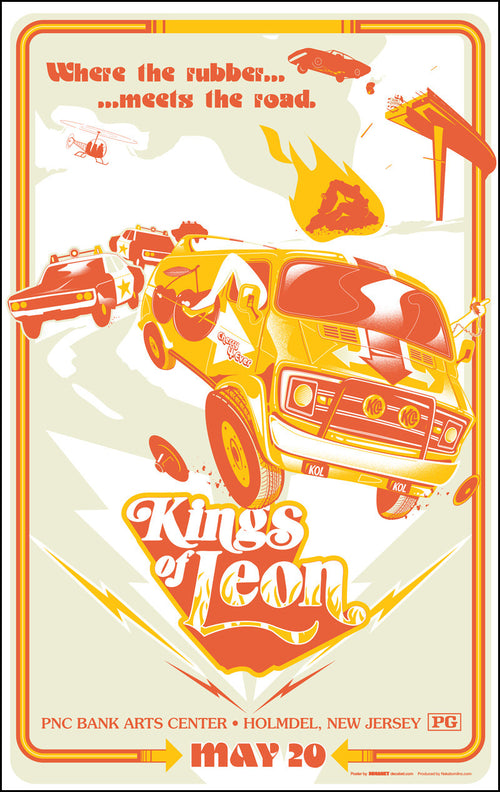 Kings of Leon - 2017 Jason Malmberg poster Holmdel, NJ, PNC Bank Arts Center