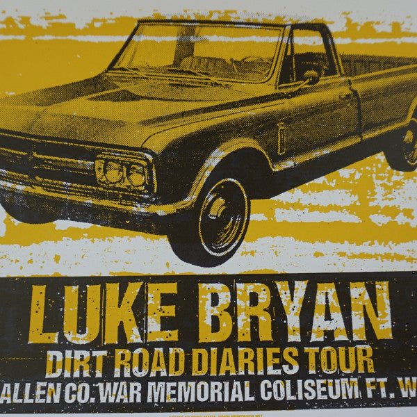 Luke Bryan - 2013 Print Mafia poster Wayne, IN Allen Co War Memorial