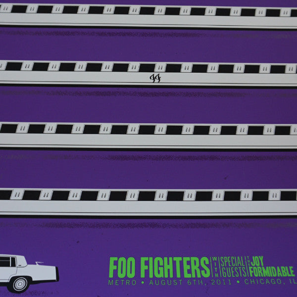 Foo Fighters - 2011 NIXON screen printed poster Metro Chicago, IL