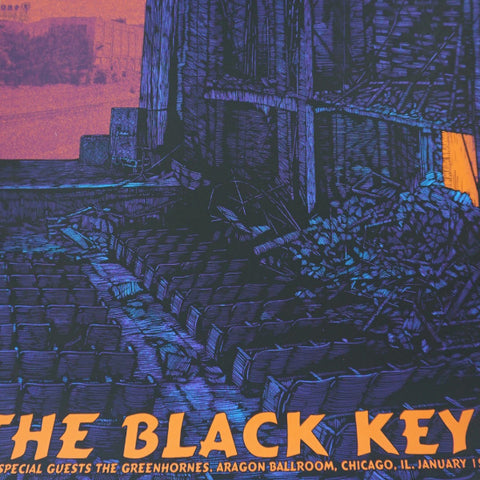 The Black Keys - 2011 Daniel Danger poster Aragon Ballroom Chicago