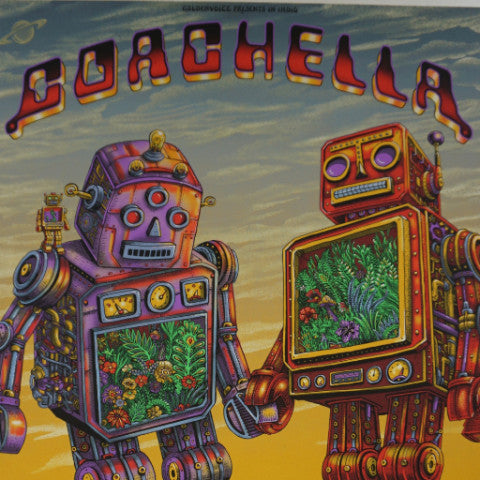 Coachella - 2016 EMEK poster AP edition of 100 HAND signed PEARL PAPER