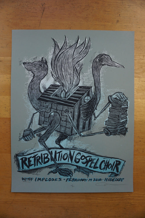 Retribution Gospel Choir - 2010 Dan Grzeca poster Chicago The Hideout