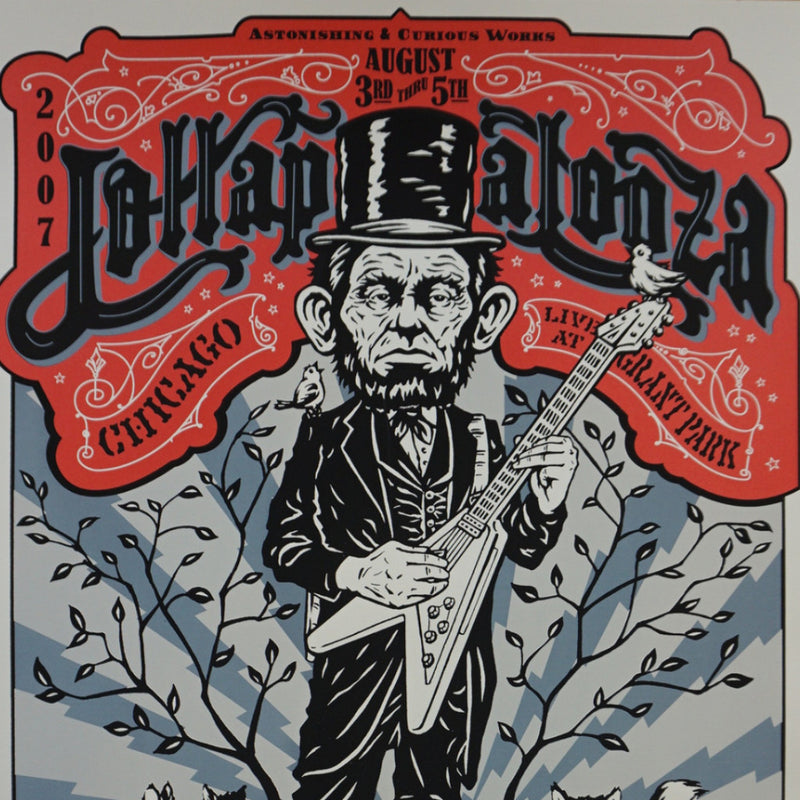 Lollapalooza - 2007 Ames Abe Lincoln guitar poster print Chicago Pearl Jam, Muse