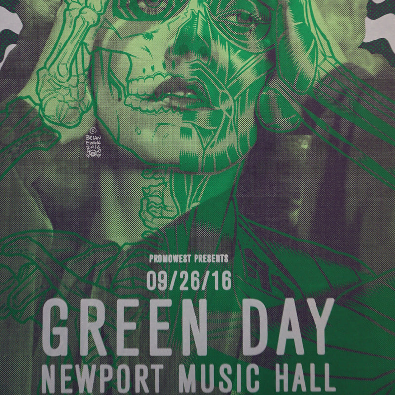 Green Day - 2016 Brian Ewing poster Columbus Newport Music Hall