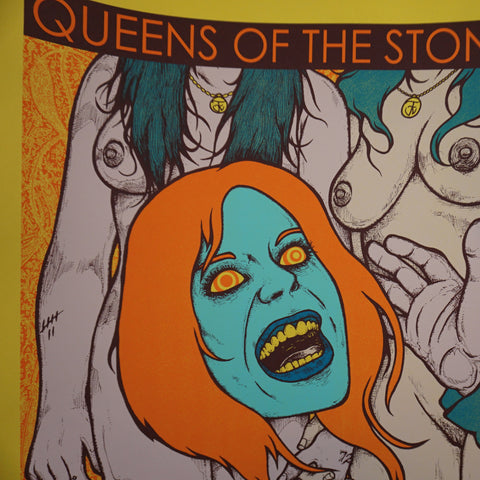 Queens of the Stone Age - 2013 Jermaine Rogers poster S/N Nashville YELLOW