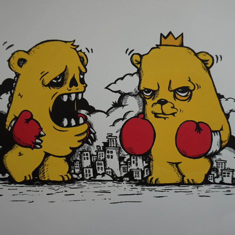 Fighting Bears - JC Rivera poster The Bear Champ Chicago street art