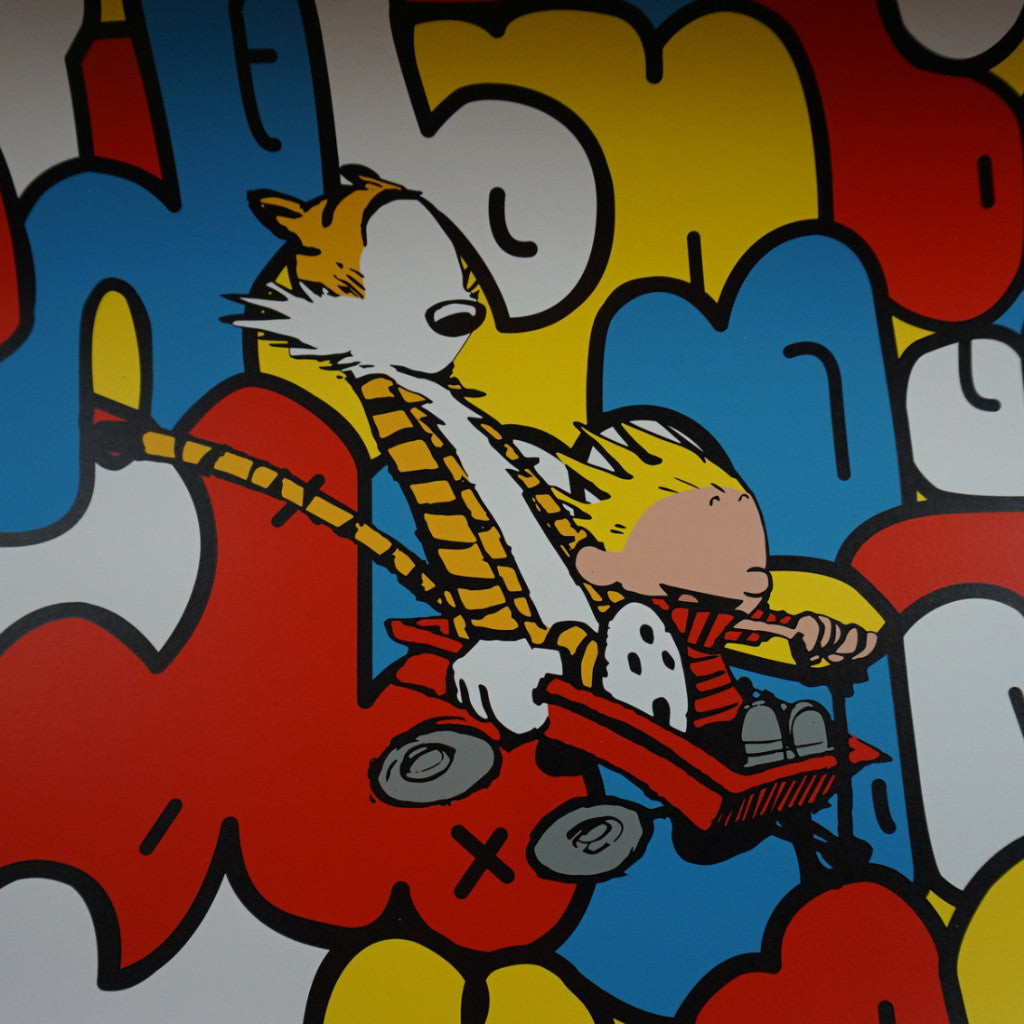 Old Friends - 2015 Jerkface poster street art Calvin and Hobbes