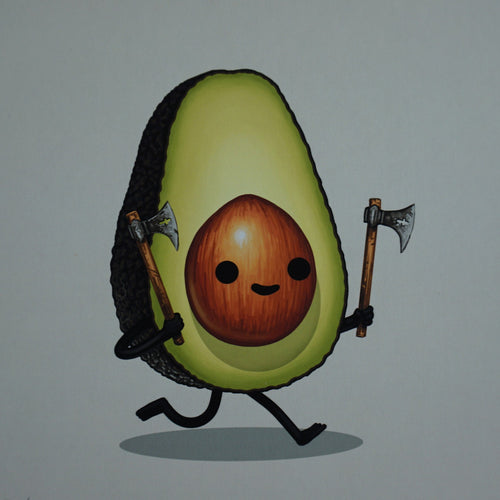 Throwing Axe - 2016 Mike Mitchell poster print avocado food dudes