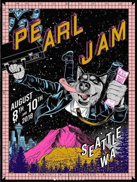 Pearl Jam - 2018 Faile Poster Seattle, WA Safeco Field