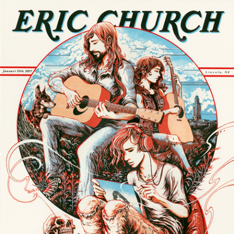 Eric Church - 2017 Miles Tsang poster Lincoln, NE AP Standard Regular