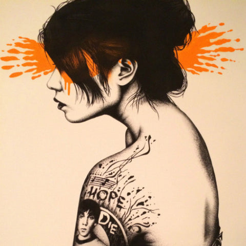 Fin DAC - 2013 Moonchild poster print S/N Edition of 50 Princeton Orange