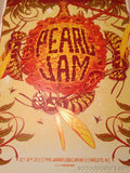 Pearl Jam - 2013 Munk One poster Charlotte NC Time Warner Cable Arena
