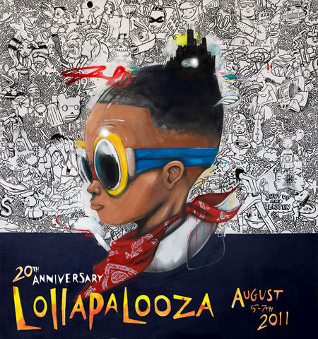 Lollapalooza - 2011 Hebru Brantley SIGNED and Numbered Giclee Edition Poster