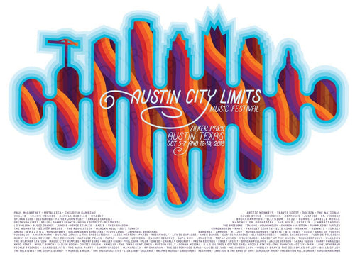 Austin City Limits Festival - 2018 Michael W. Hall poster Zilker Park Texas