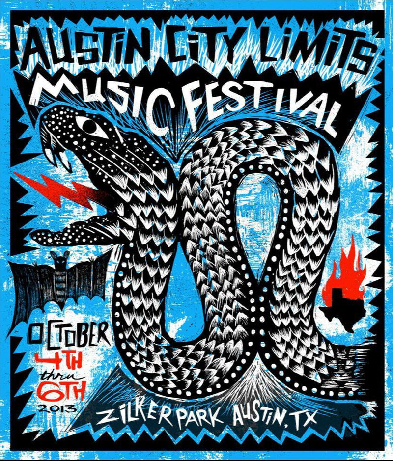 Austin City Limits Festival - 2013 Carlos Hernandez ACL poster #'d print weekend 1