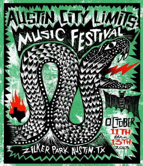 Austin City Limits Festival - 2013 Carlos Hernandez poster #'d print ACL weekend 2