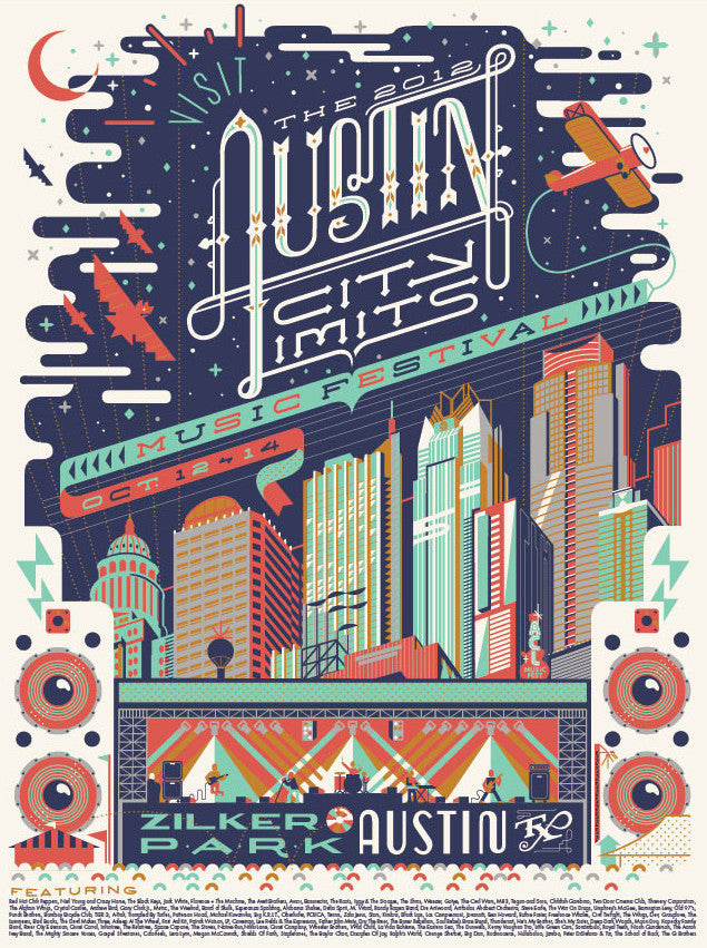 Austin City Limits Festival - 2012 Anderson Design Group ACL poster Zilker Park