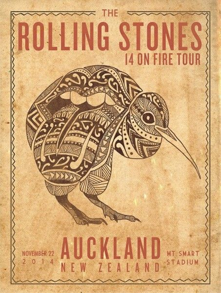 Rolling Stones - 2014 official poster Auckland, New Zealand #1