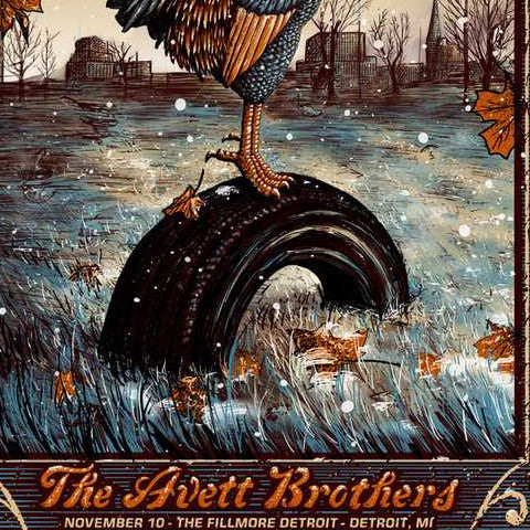 The Avett Brothers - 2016 Zeb Love poster Detroit The Fillmore 11/10